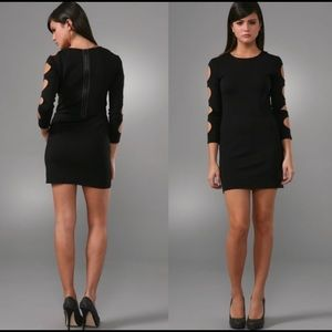 Alice + Olivia Cut Out Sleeve Mini Jersey Dress